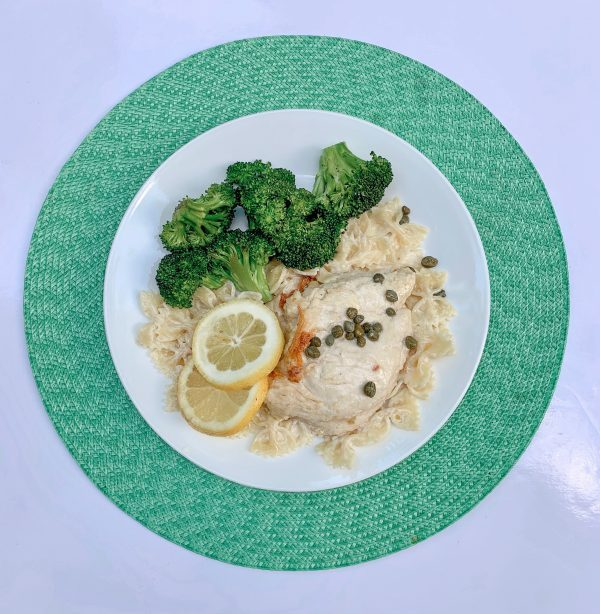 Chicken Limon with Bowtie Pasta and Broccoli