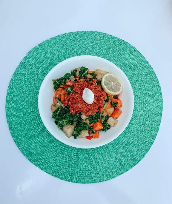 Chorizo Hash with Kale